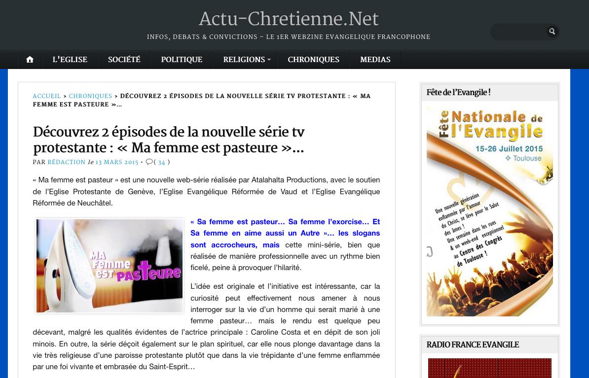 Actualité Chrétienne du 1 mars 2015